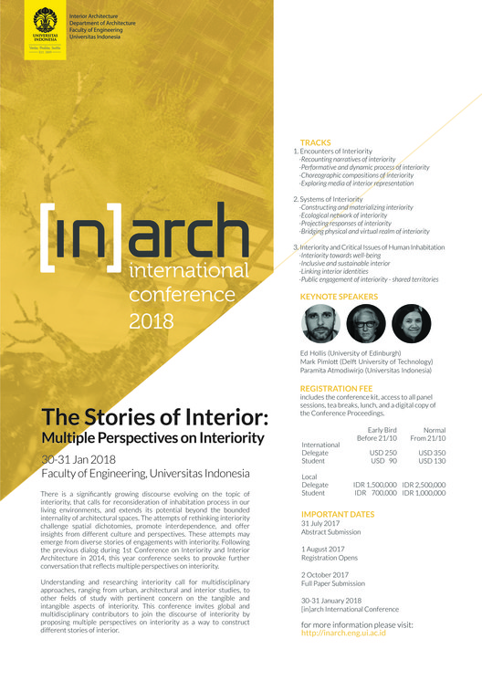 Call for Abstracts: The Stories of Interior - Multiple Perspectives on Interiority, [in]arch International Conference 2018 Poster