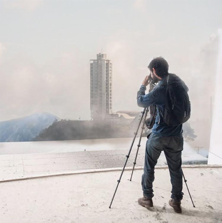 Lanzamiento 'Architectural Guide Caracas' en Santiago, Imagen: Hotel Humboldt desde el Humboldt. Julio Mesa. Composición: Raimundo Rosas.