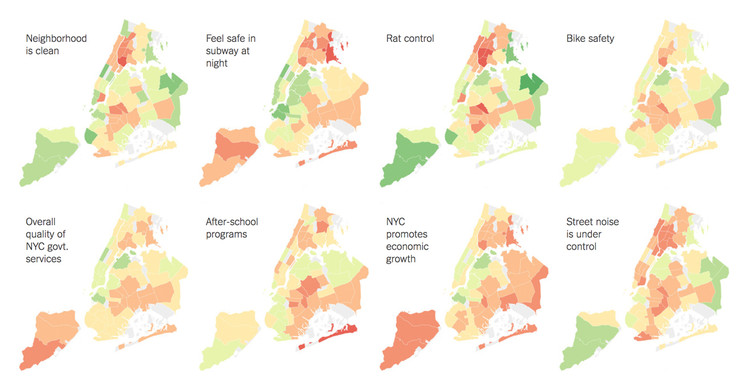 44 Maps Reveal New Yorkers' Thoughts About Rats, Parks, Bike Safety And Other Urban Issues, via The New York Times