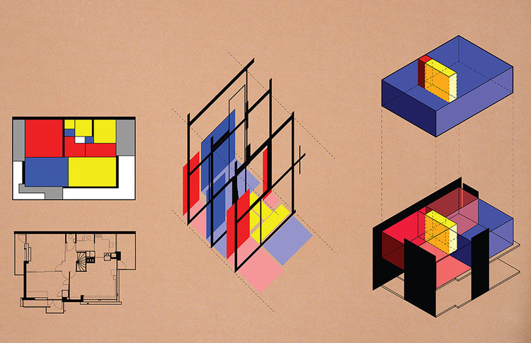Diagrams of the Rietveld Schroder House Reveal its Graphic and Geometric Brilliance, Courtesy of Yun Frank Zhang