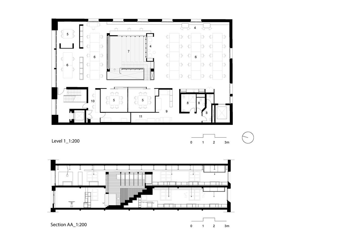Box Office,First Floor Plan and Section