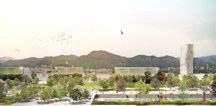 Colectivo 720 gana concurso para transformar el Parque Tercer Milenio de Bogotá, Parque Metropolitano Tercer Milenio de Bogotá junto a nuevo ministerio y cerros tutelares. Image Cortesía de Colectivo 720
