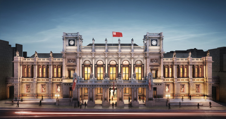 Royal Academy of Arts Adds Permanent Architecture Gallery to Chipperfield Renovation Plans, The Royal Academy's north-facing entrance, Burlington Gardens. Image © Hayes Davidson. Courtesy of Royal Academy of Arts