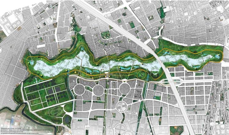 Ecopolis Estudio gana concurso de ideas para diseñar el Parque Juan Amarillo en humedal de Bogotá, Planta urbana