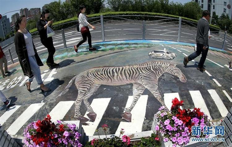 Ilusão de ótica, grafite e luzes: arte em faixas de pedestres contribui para a segurança viária, Zebra convida pedestres a atravessar na faixa. Foto: Xinhua/Reprodução. Image via TheCityFix Brasil