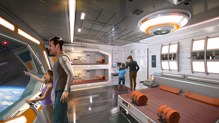 "Disney Unveils Plans for ""Immersive"" Star Wars Resort and New Theme Park Animation, © Disney/Lucasfilm. Image via <a href='http://https://disneyparks.disney.go.com/blog/2017/07/plans-unveiled-for-star-wars-inspired-themed-resort-at-walt-disney-world/'>Disney Parks Blog</a>. ImageEarly concept drawings for the hotel"