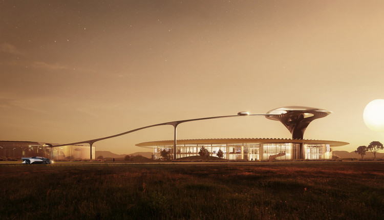 "MAD Architects Designs Futuristic Headquarters for the ""World's Fastest-Accelerating Electric Car"", Courtesy of MAD Architects"