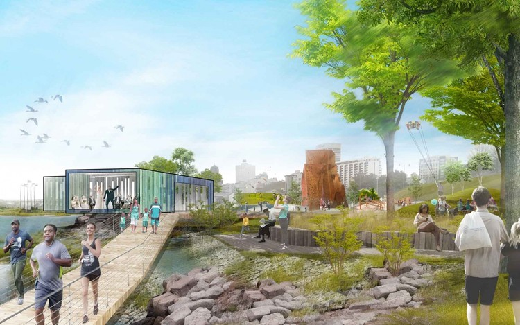 Studio Gang Unveils Community-Led Revitalization Masterplan for Memphis' Mississippi River , A variety of new amenities at Tom Lee Park, from an adventure playground to an elegant pavilion, would provide park users with many activity options in all seasons. Different types of trails would allow for different speeds of movement through the park, while areas of respite and shade encourage everyone to relax and take in the Mississippi. Image Courtesy of Studio Gang