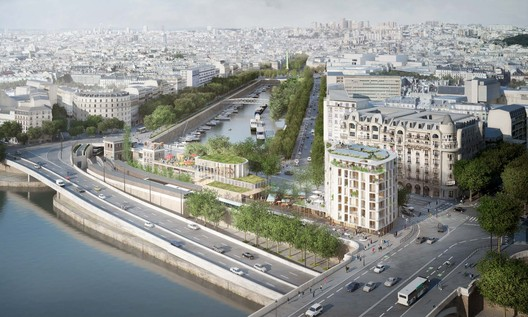 Aerial view from the Pont d'Austerlitz. In the foreground, the housing building and temporary pavilion. Image © SO – IL and laisné roussel (Weiss Images)