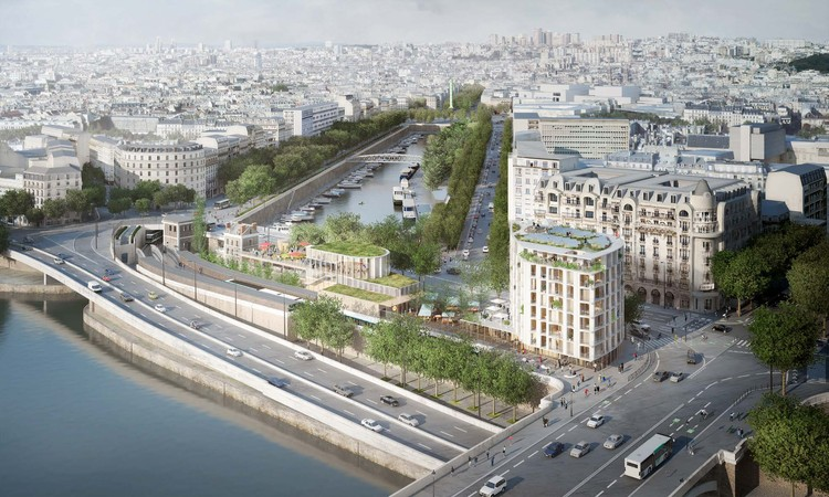 SO-IL + laisné roussel Win Competition for Innovative Riverfront Development in Paris, Aerial view from the Pont d'Austerlitz. In the foreground, the housing building and temporary pavilion. Image © SO – IL and laisné roussel (Weiss Images)