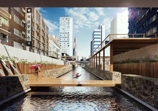 Escritório curitibano propõe reabertura de alguns trechos dos rios Ivo e Belém para ajudar a transformar a cidade com mais espaços de lazer e descanso. Imagem: Solo Arquitetos/Expo 2017/Divulgação. Image Cortesia de Gazeta do Povo / Haus