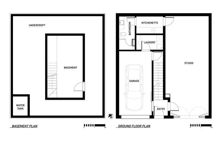 Glebe house studio residence u i building studio for Basement floor plans with stairs in middle