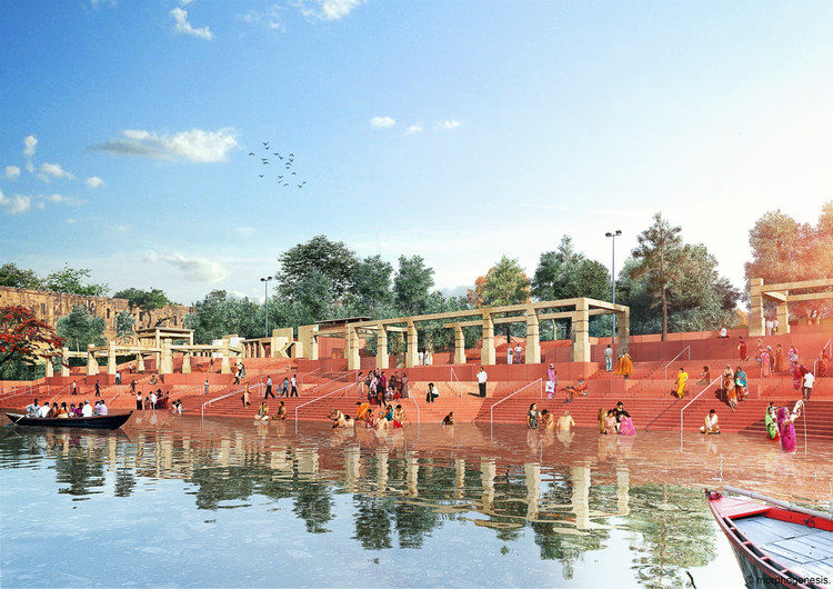 Massive River Development Plan Hopes to Rejuvenate India's Relationship to the Ganges, View of the Ghats. Image Courtesy of Morphogenesis