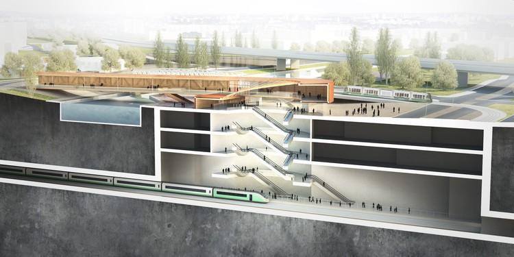 BIG e Silvio d'Ascia Architecture divulgam novas imagens de projeto para estação de metrô em Paris, Cortesia de BIG