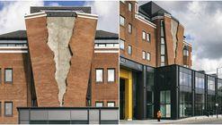 El artista Alex Chinneck instala una inusual fachada de ladrillo en Londres