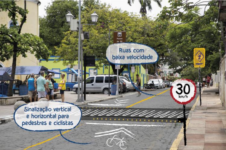 Seis princípios para tornar as cidades mais seguras a partir do desenho urbano, Foto: Mariana Gil / WRI Brasil Cidades Sustentáveis. Arte: Luísa Schardong / WRI Brasil Cidades Sustentáveis