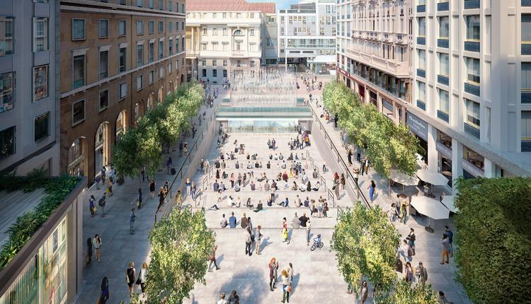 Foster + Partners divulga projeto para loja da Apple sob uma praça em Milão, via apple.com