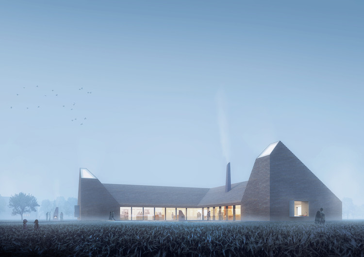 Reiulf Ramstad Arkitekter Wins Competition for Kiln-Inspired Food Education Center in Denmark, © Places Studio