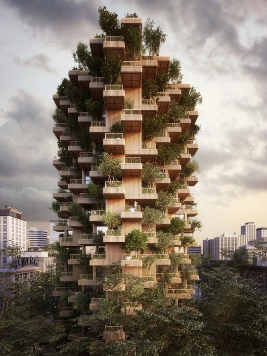 Penda Designs Modular Timber Tower Inspired by Habitat 67 for Toronto , Courtesy of Penda