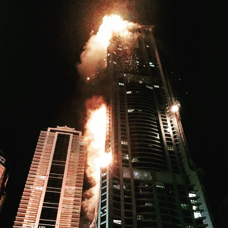 Dubai's Torch Tower Catches Fire for Second Time in Two Years, via Instagram user <a href='http://https://www.instagram.com/p/BXXYKXOFc75/?tagged=torchtower'>siandonovan_</a>