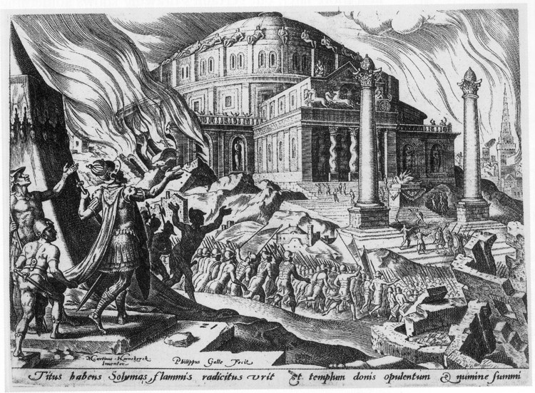 """Hallo Darkness!"" Why Not All Buildings Need To Be Cheerful All Of The Time, The Destruction of the Temple of Solomon, by Maarten van Heemskerck. From Freemasonry and the Enlightenment, by James Stevens Curl (Public Domain). Image"
