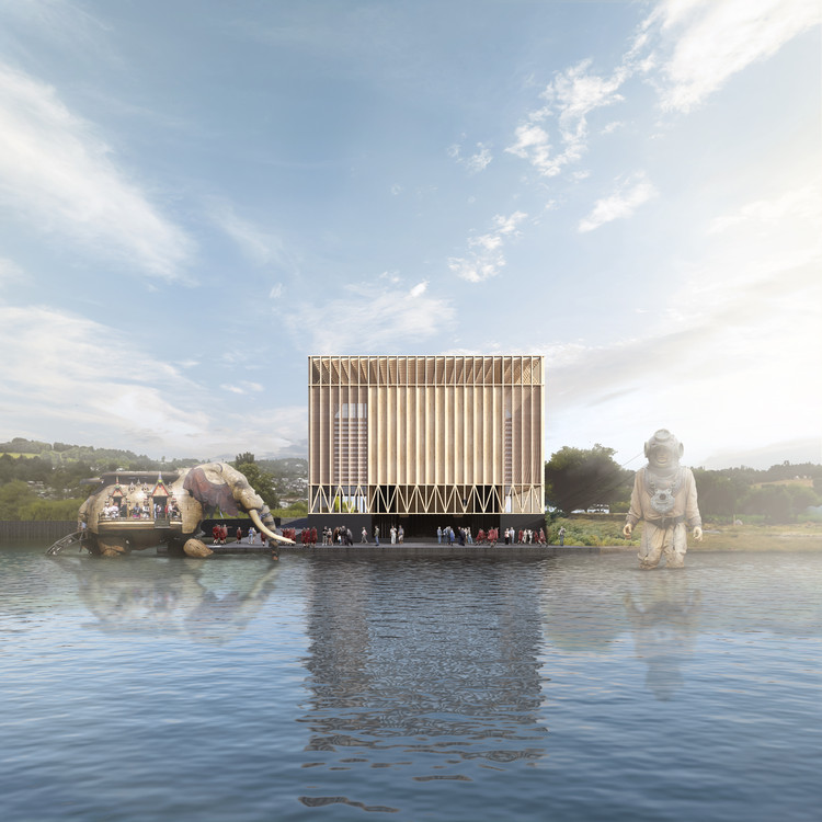 Este es el 'Teatro de Todos', el diseño ganador del Teatro de Las Artes de Panguipulli, Cortesía de Equipo Primer Lugar