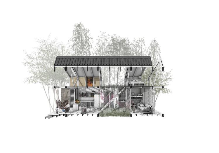 Esta es la vivienda propuesta ganadora del Premio Corona Pro Habitat 2017, Corte fugado