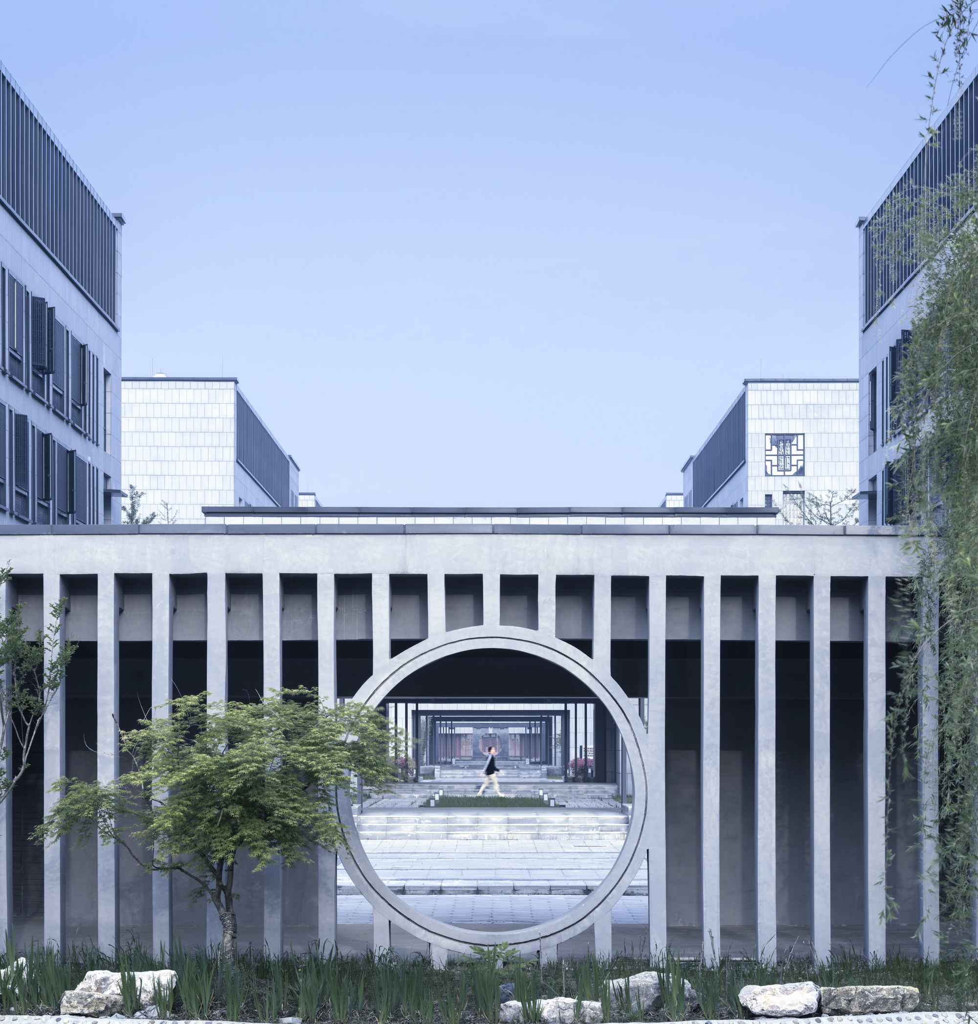 Architectural Designs: Hall Of Literature & Garden At Taizhou High School