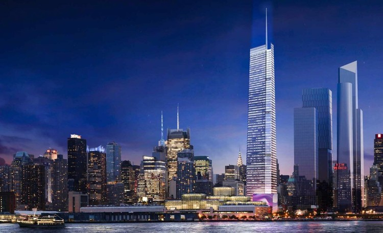 FXFOWLE's 3 Hudson Boulevard Could Be Hudson Yards' Tallest Building, Rendering of the updated design. Image © FXFOWLE. Via New York YIMBY