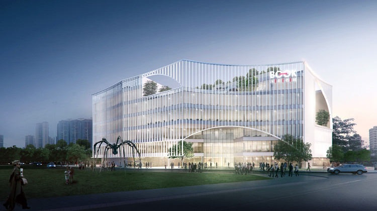 Atelier Global Wins Competition to Design 'Book City' in Shenzhen, Main entrance from the park. Image Courtesy of Atelier Global