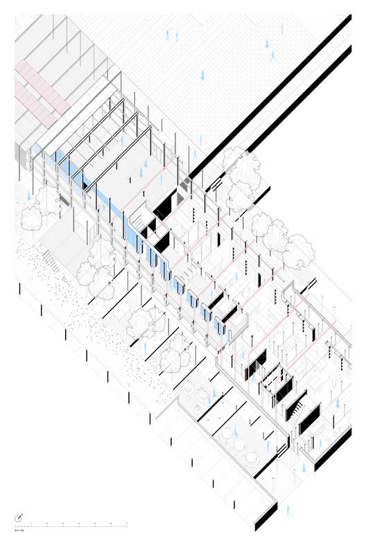 MÍNIMO, segundo lugar en concurso de nuevo 'edificio cero' para Kömmerling en Madrid, Axonometría constructiva