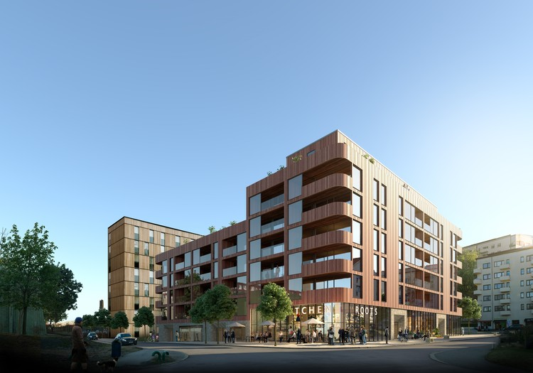 Riksbyggen and Sweco Architects Win Competition for Wooden Mixed-Use Development in Gothenburg , Courtesy of Kristian Schling, AdoreAdore