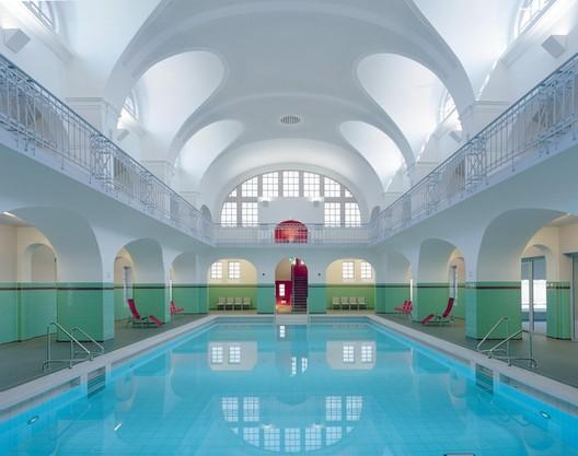 Swimming Hall in Gotha, Germany. Image <a href='https://www.reddit.com/r/AccidentalWesAnderson/comments/6sswkz/swimminghall_in_gotha_germany/'>via Reddit user Teillu</a>
