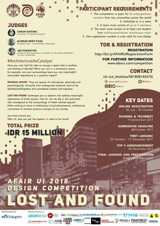 """Call for Entries: """"Lost and Found"""" - Reclaiming Architecture of Nobody, AFAIR UI 2018 Design Competition: """"Lost and Found"""""""