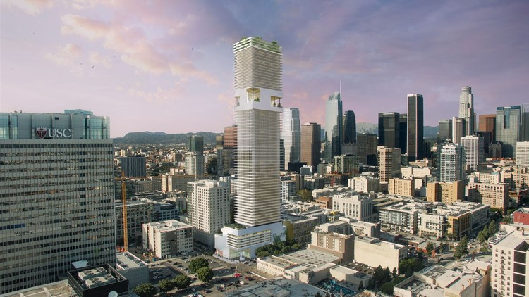 ODA Designs 70-Story Residential Skyscraper for Downtown Los Angeles, Courtesy of ODA. Via Curbed