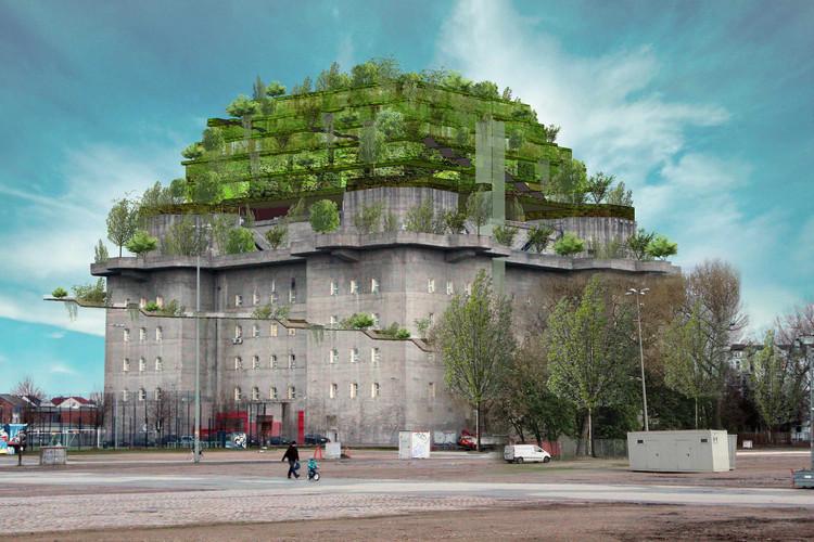"""De relíquia de guerra a uso misto: planos para construir uma """"montanha verde"""" sobre um bunker em Hamburgo, Cortesia de Hilldegarden.org"""