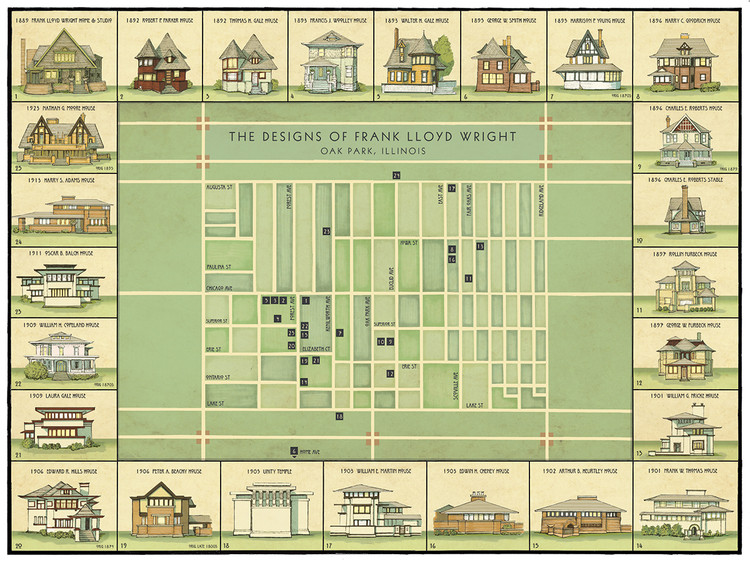This Map Shows The Evolution of Frank Lloyd Wright's Oak Park Designs, © Phil Thompson