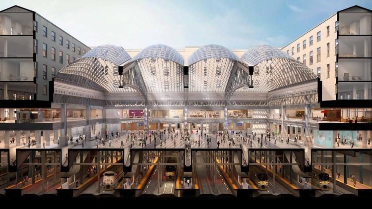 Nova estação de trens projetada por SOM na Pennsylvania começou a ser construída, Cortesia de New York State Governor's Office