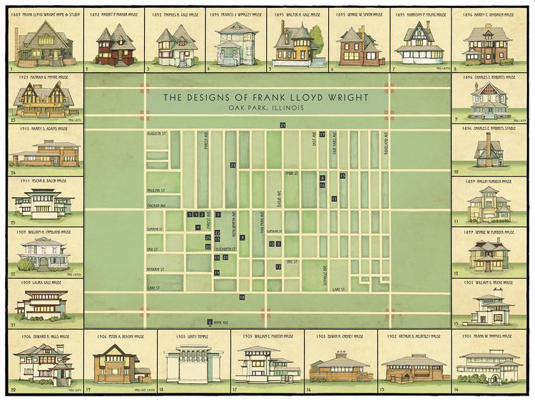 Mapa ilustrado mostra a evolução dos projetos de Frank Lloyd Wright, © Phil Thompson