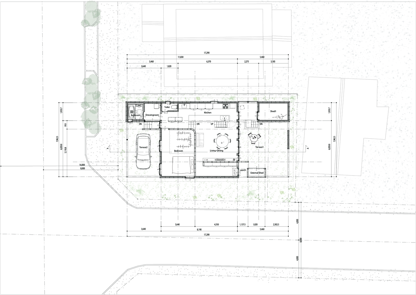 Captivating Roof And Rectangular House,Ground Floor Plan