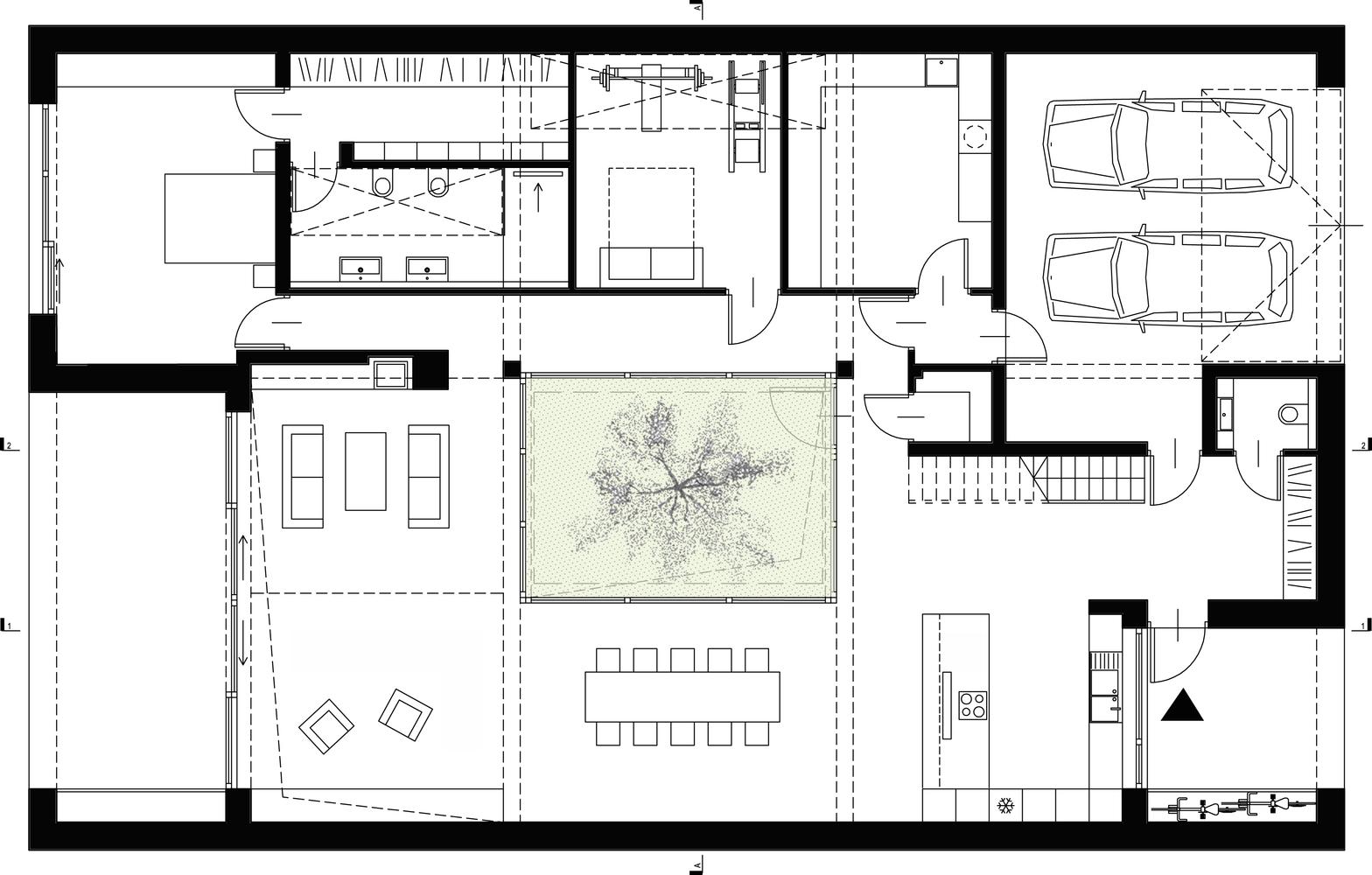 Courtyard House,Ground Floor Plan
