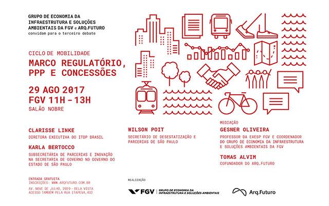 Marco regulatório, PPP e concessões são tema do ciclo de mobilidade urbana do Arq. Futuro e FGV, Ciclo de Mobilidade debaterá PPP, Concessões e Marco Regulatório. Dia 29.08 na FGV.