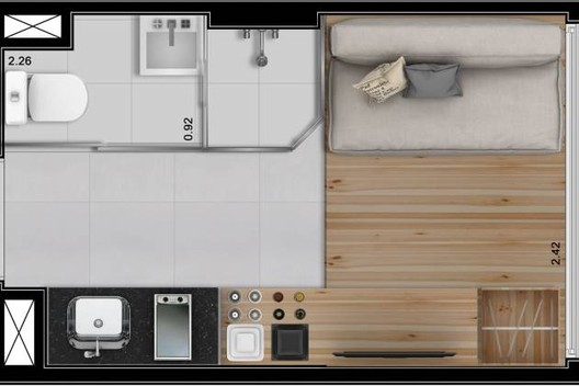 10-Square-Meter Apartments: Minimizing Living Space or Maximizing Profit?, Floor Plan of the 10m² apartment in downtown São Paulo. Image via Raquel Rolnik's blog.