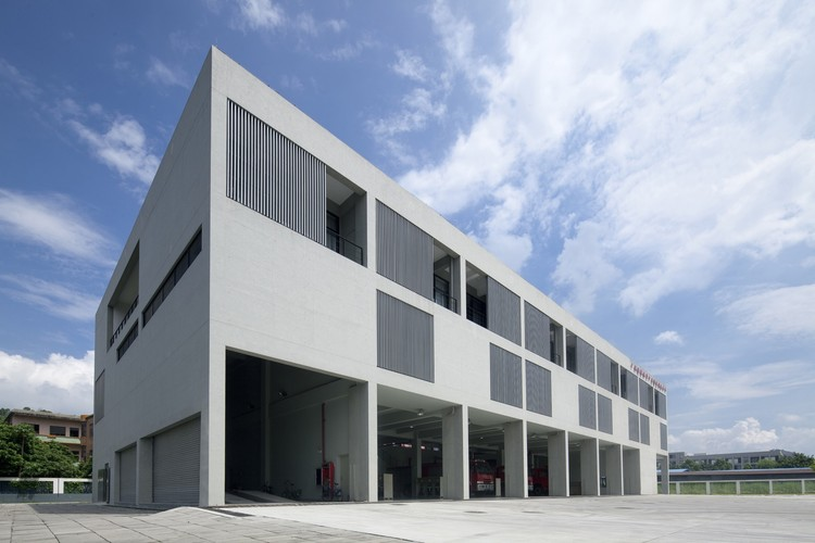 Fire Station of Guangzhou Holdings Nansha Industrial Park / Atelier Y, South Elevation. Image © CHEN Zhong