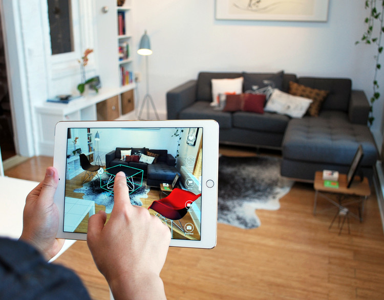 The Top 5 Virtual Reality and Augmented Reality Apps for Architects, The app Pair allows architects to drag-and-drop 3-D models of consumer furnishings into their designs using iPhones or iPads. © Pair