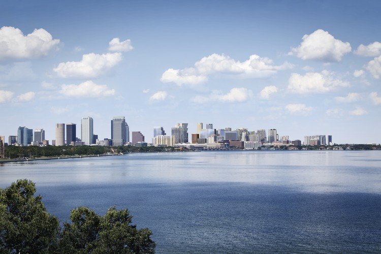 Olson Kundig, CookFox, Morris Adjmi Among Top Firms to Design Buildings for Revitalization of Downtown Tampa, Tampa skyline, after. Image Courtesy of Water Street Tampa