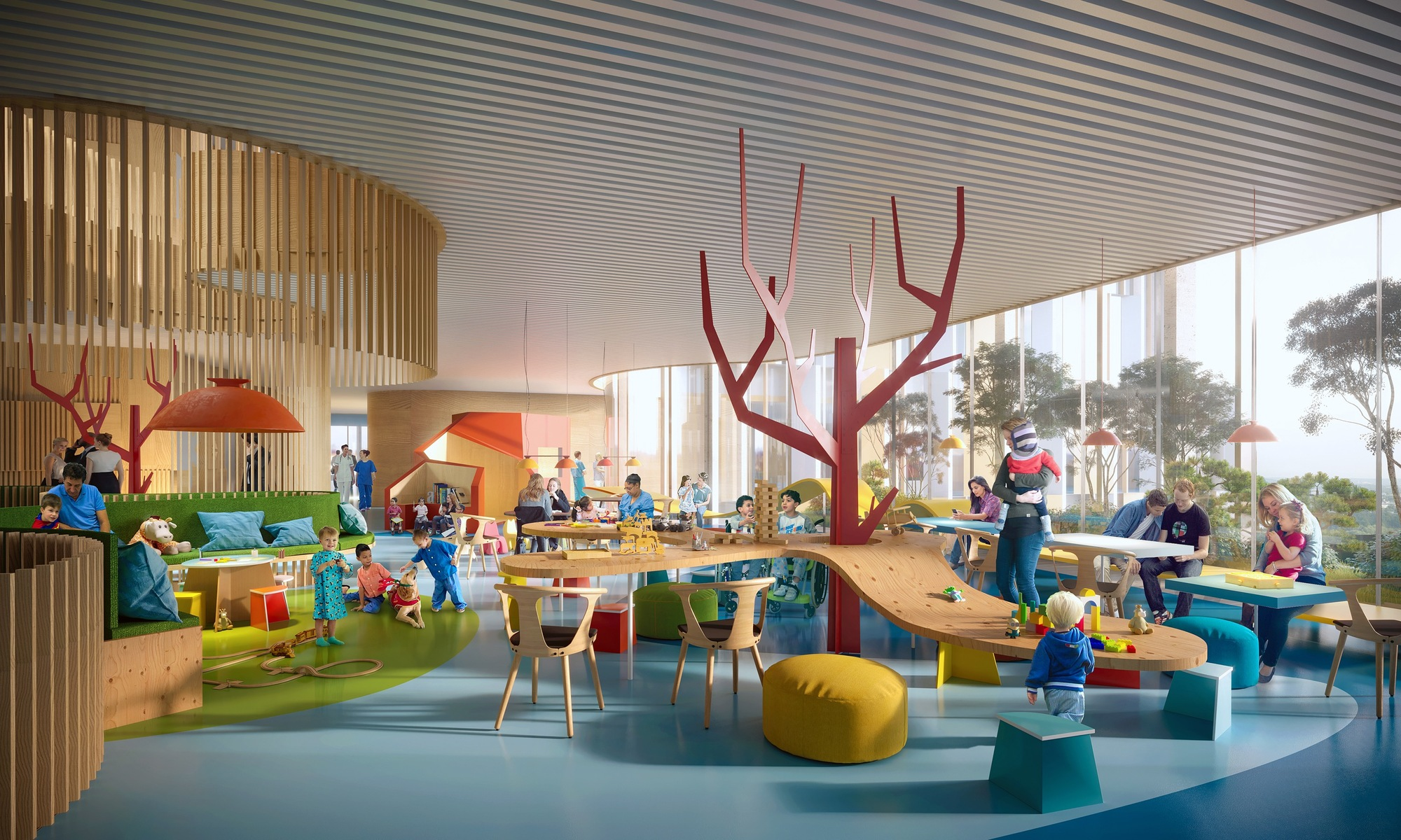 hospital children copenhagen 3xn play area competition architecture childrens interior architects playful wins designboom proposal logical playfully child project building