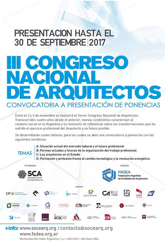 Convocatoria para participar del III Congreso Nacional de Arquitectos en Argentina, Cortesía de Sociedad Central de Arquitectos
