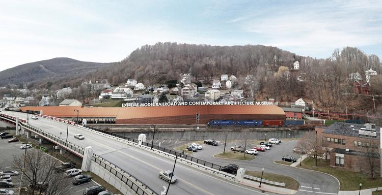Gehry Partners é selecionado para assumir o projeto do Extreme Model Railroad Museum, Proposta original de Gluckman Tang para o museu. Image © Gluckman Tang