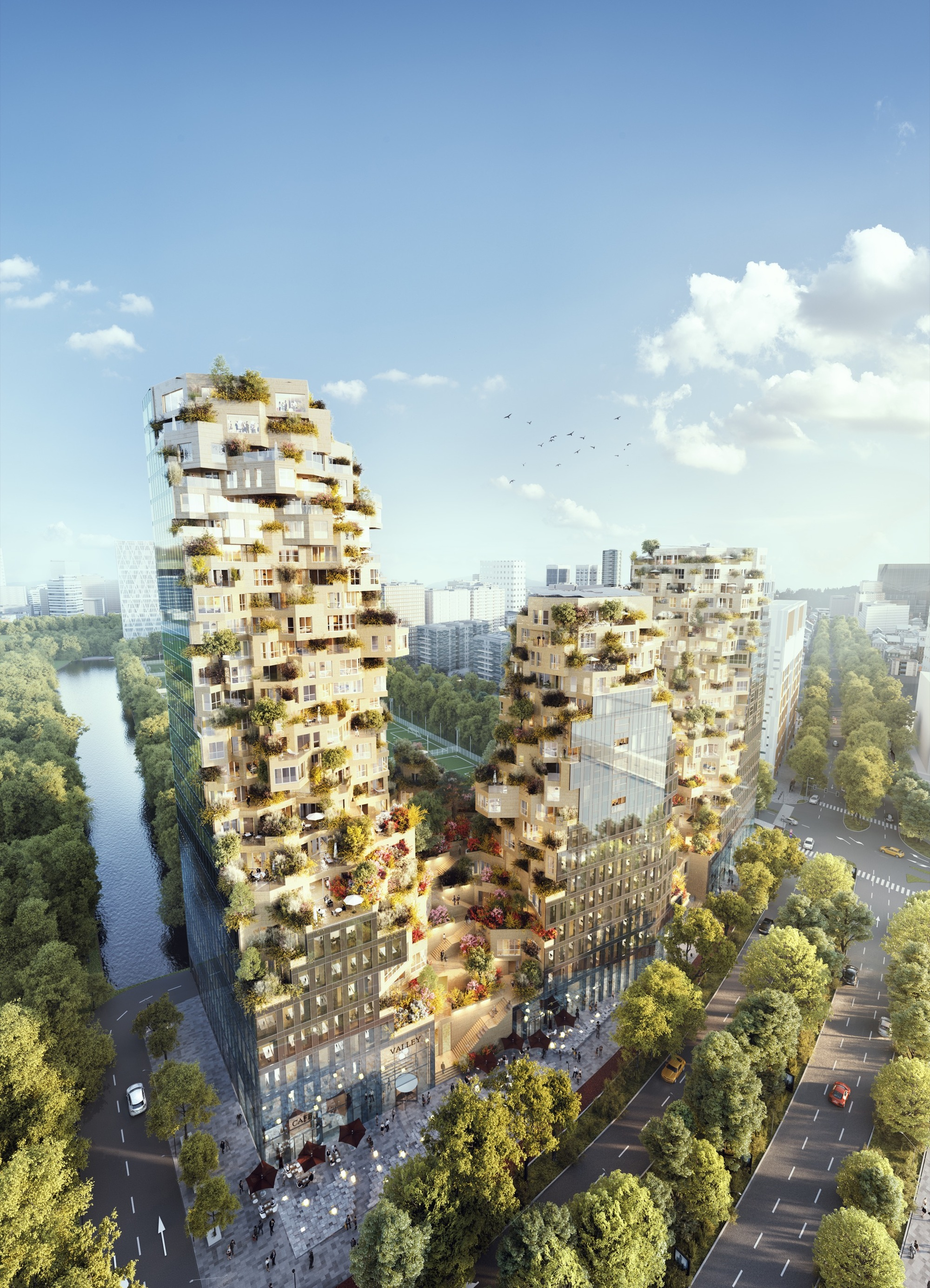 "MVRDV Breaks Ground on Mixed-Use ""Valley"" to Inject Life into Amsterdam's Business District"